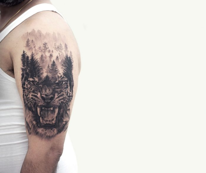 Dotwork Trees And Tiger Arm Tattoo