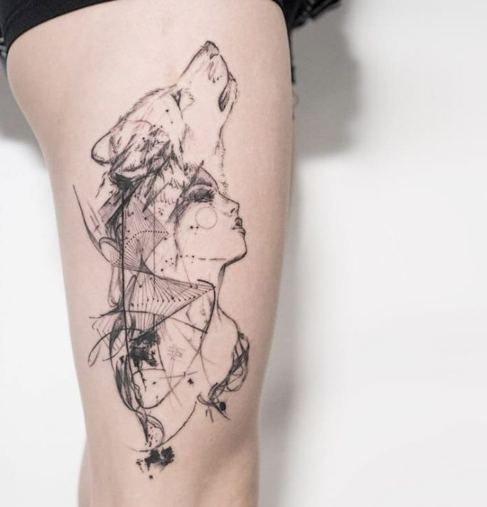 Double Exposure Fox And Portrait Thigh Tattoo