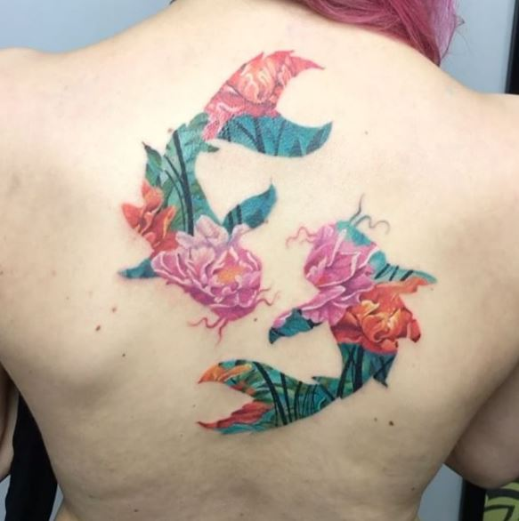 Floral Fishes Back Tattoo