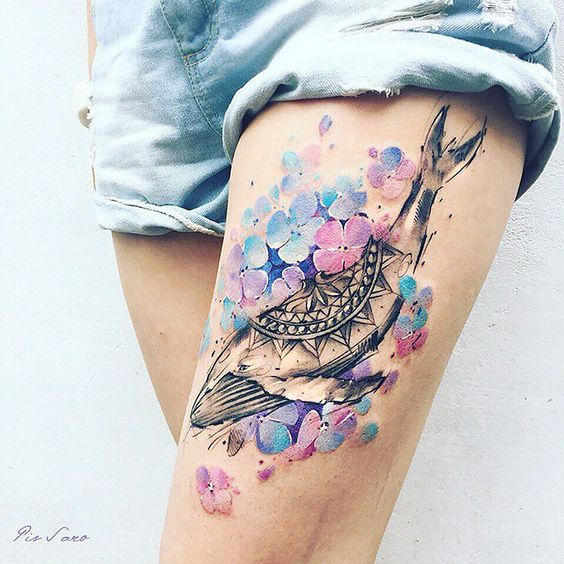 Floral Tribal Whale Double Exposure Tattoo