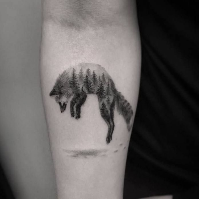 Fox And Trees Double Exposure Forearm Tattoo