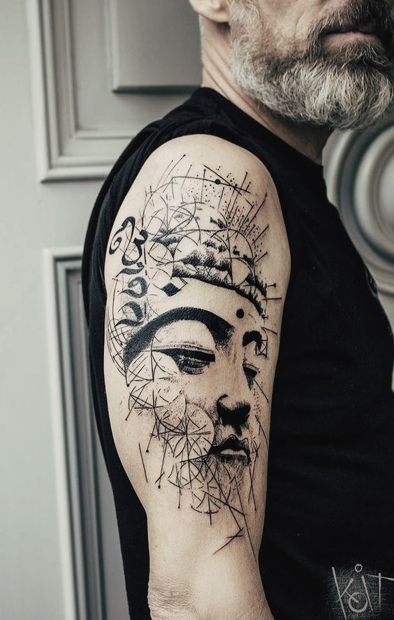 Geometric Buddha Double Exposure Arm Tattoo