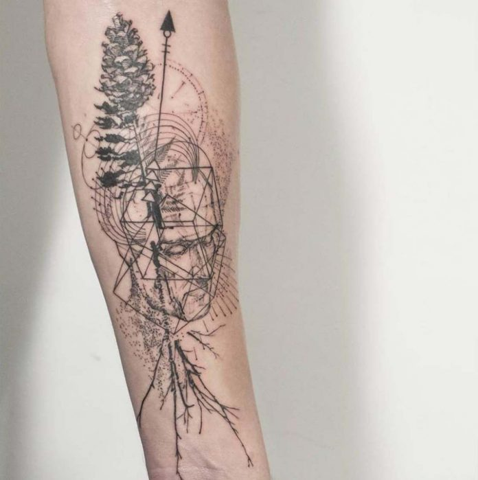 Geometric Nature And Portrait Arm Tattoo