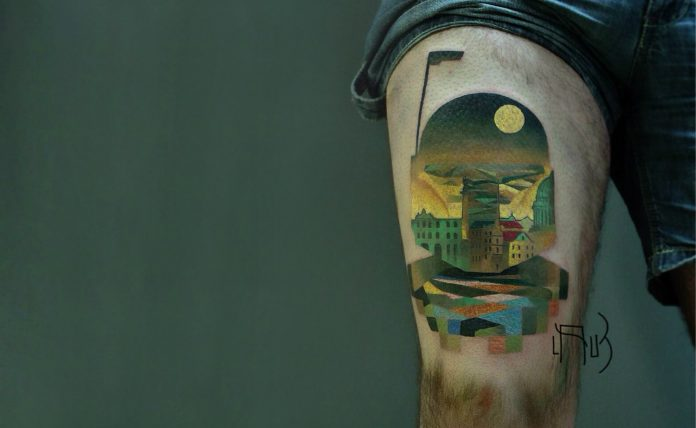 Glitch Art Double Exposure Tattoo