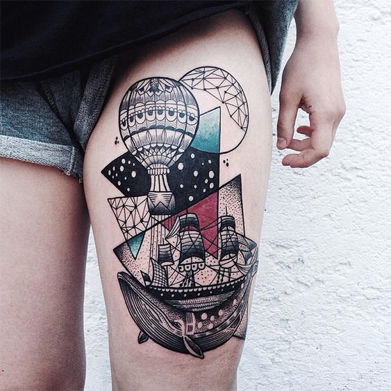Graphic Abstract Thigh Tattoo