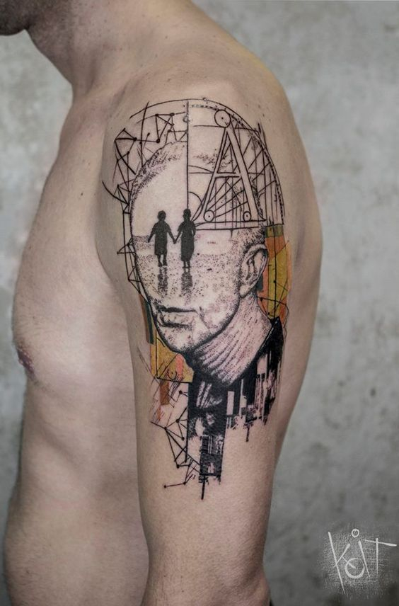 Graphic Style Portrait Arm Tattoo