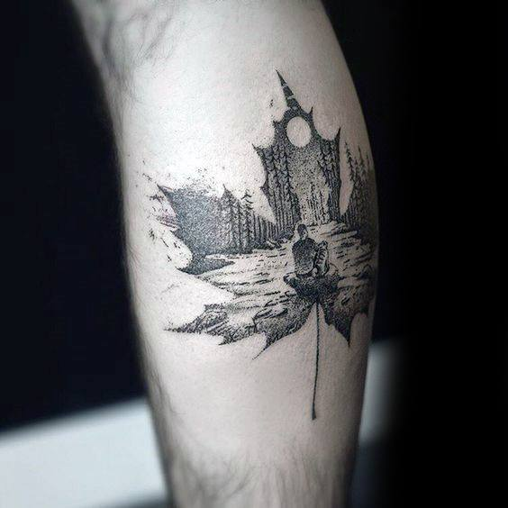 Leaf And Scenery Double Exposure Calf Tattoo