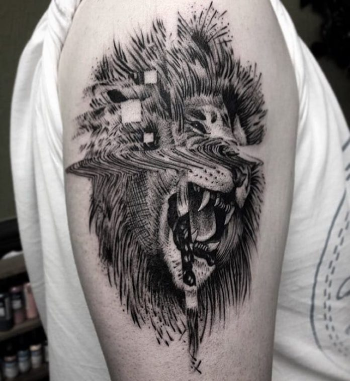 Lion Glitch Tattoo