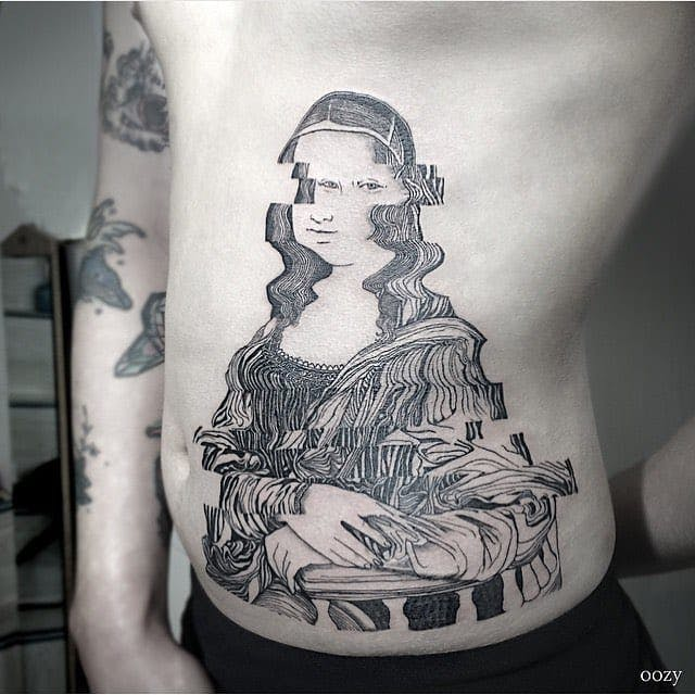 Mona Lisa Glitch Side Tattoo