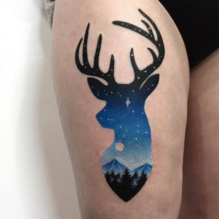Night Sky And Deer Double Exposure Thigh Tattoo