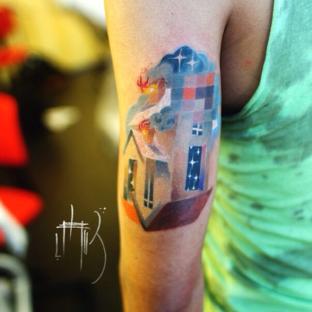 Pixel Glitch House Arm Tattoo