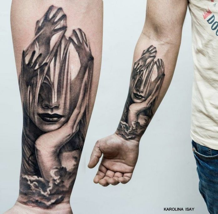 Portrait And Hands Double Exposure Forearm Tattoo