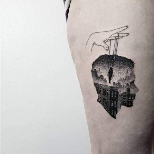 Puppeteer Double Exposure Tattoo