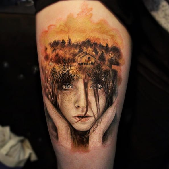 Realistic Portrait Double Exposure Tattoo