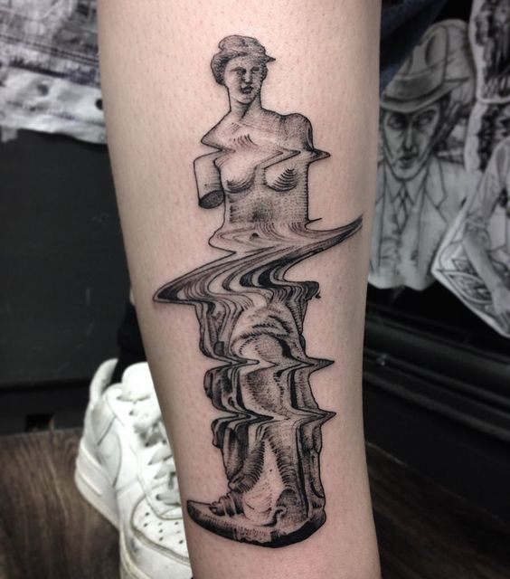 Roman Sculpture Glitch Tattoo
