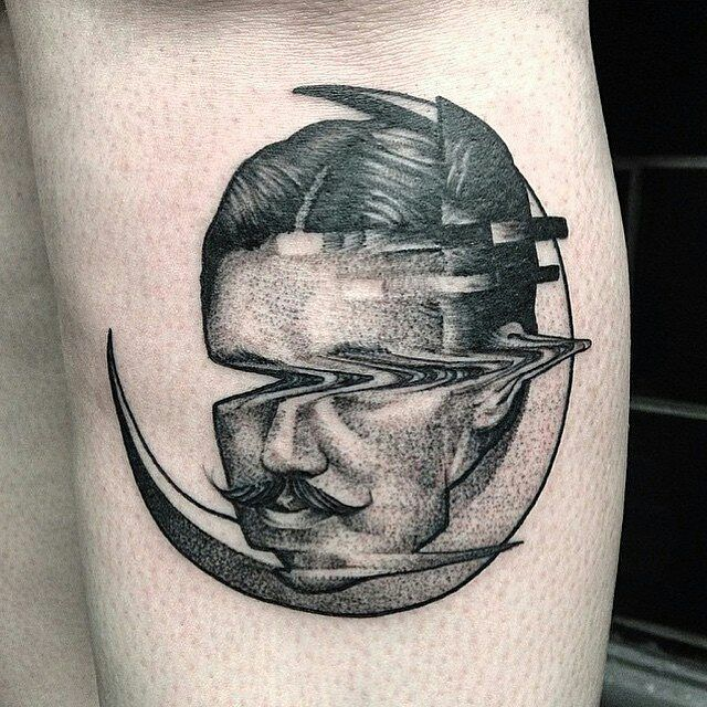 Salvador Dali Glitch Tattoo