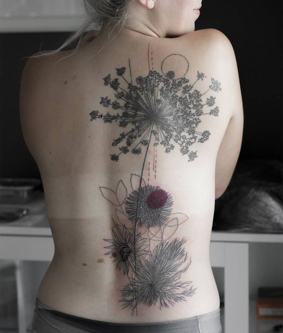 Sketchy Wildflower Back Tattoo