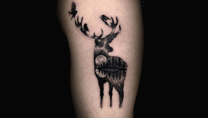 Starlight Stag Doule Exposure Tattoo