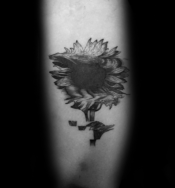 Sunflower Glitch Tattoo