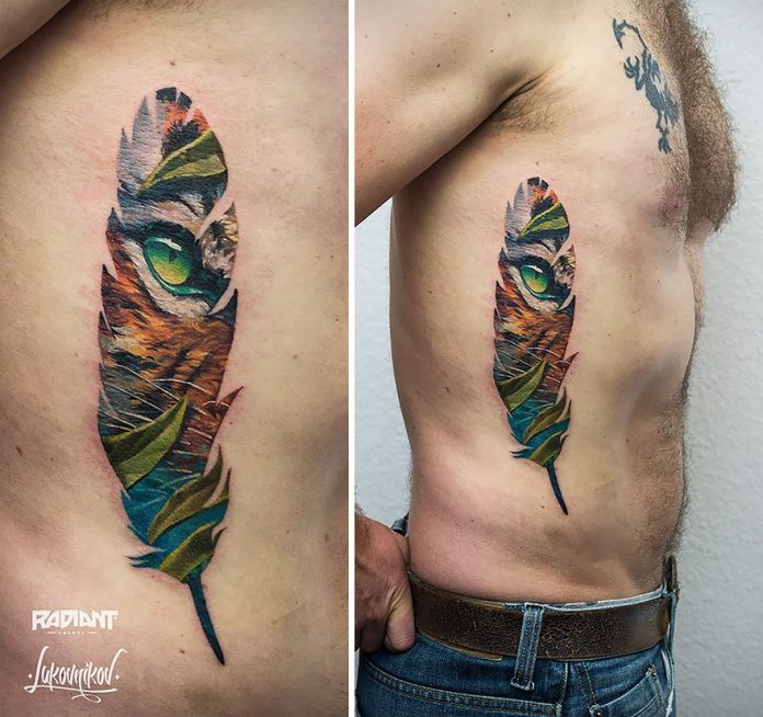 Vibrant Feather Double Exposure Side Tattoo