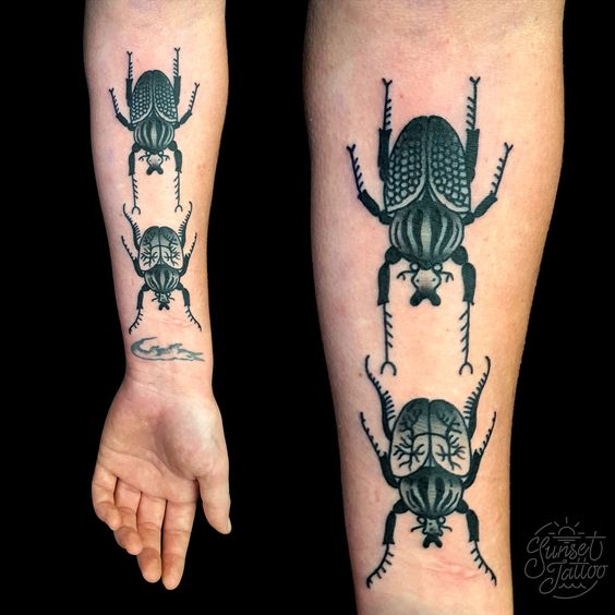 Black And Grey Beetles Forearm Tattoo