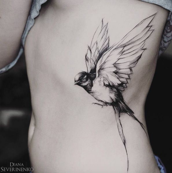 Black and Gray Songbird Side Tattoo
