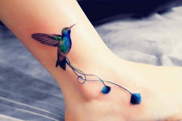 Blue Tailed Hummingbird Tattoo