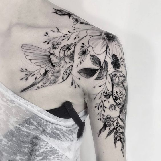 Botanical Hummingbird Shoulder Tattoo