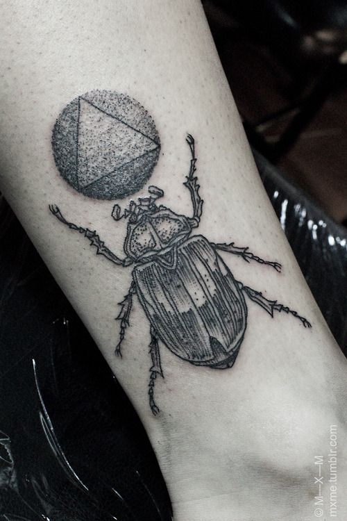 Dotwork Beetle Arm Tattoo