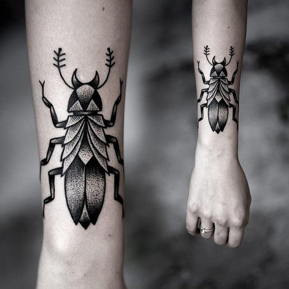 Dotwork Beetle Tattoo