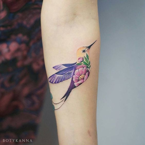 Double Exposure Hummingbird Forearm Tattoo