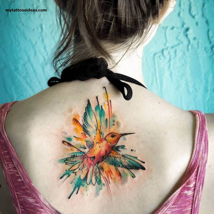 Dripped Watercolor Hummingbird Back Tattoo
