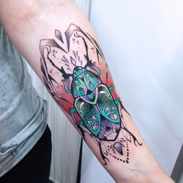 Fancy Beetle Forearm Tattoo