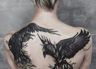 Fighting Black Birds Back Tattoo
