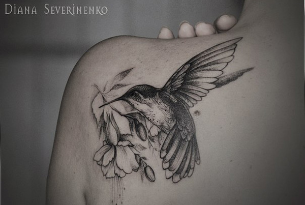 Fine Line Hummingbird Back Tattoo