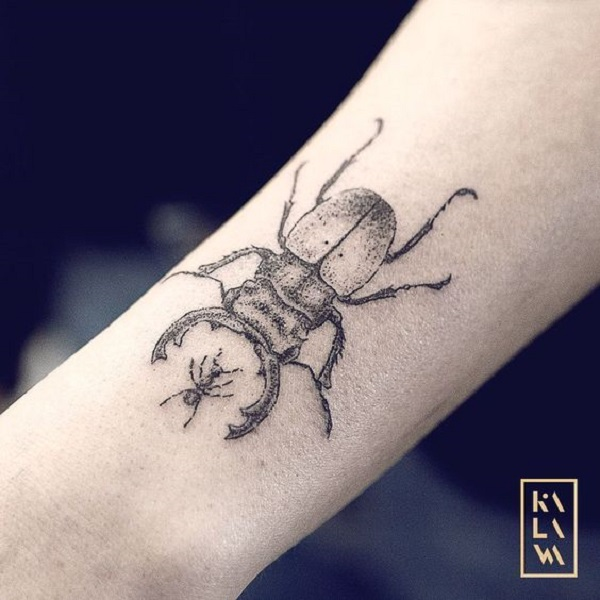 Finework Beetle Forearm Tattoo