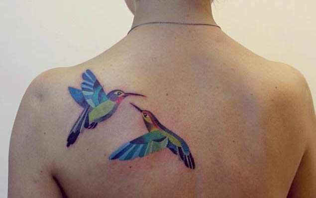 Geometric Hummingbirds Back Tattoo