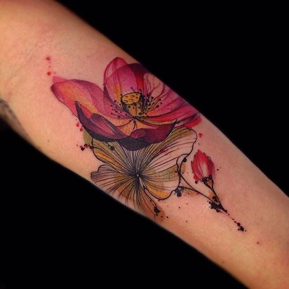 Linework Watercolor Flowers Forearm Tattoo