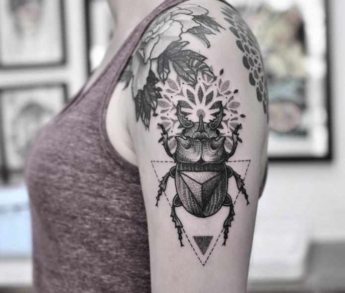 Mandala Scarab Beetle Arm Tattoo