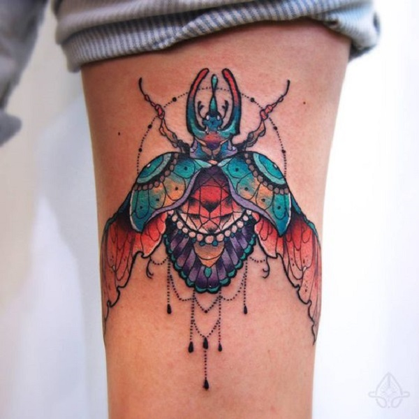 Open Winged Beetle Tattoo