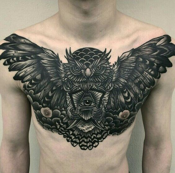 Owl With All Seeing Eye Chest Tattoo