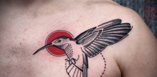 Red Centered Hummingbird Chest Tattoo