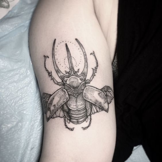 Rhino Beetle Arm Tattoo