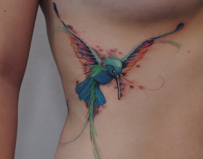 Soaring Hummingbird Belly Tattoo