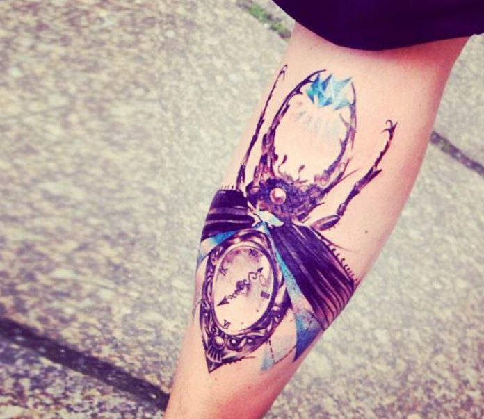 Time Beetle Calf Tattoo