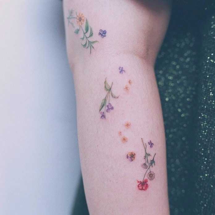 Watercolor Botanical Arm Tattoo