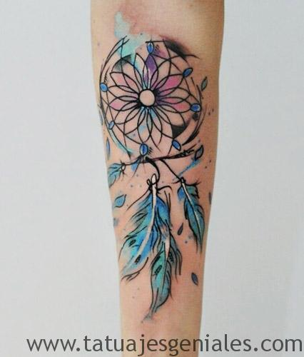 Watercolor Dream Catcher Forearm Tattoo