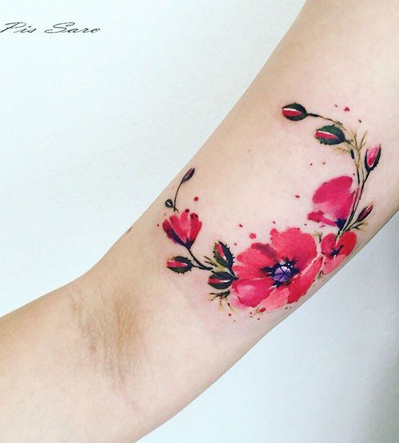 Watercolor Floral Crescent Arm Tattoo