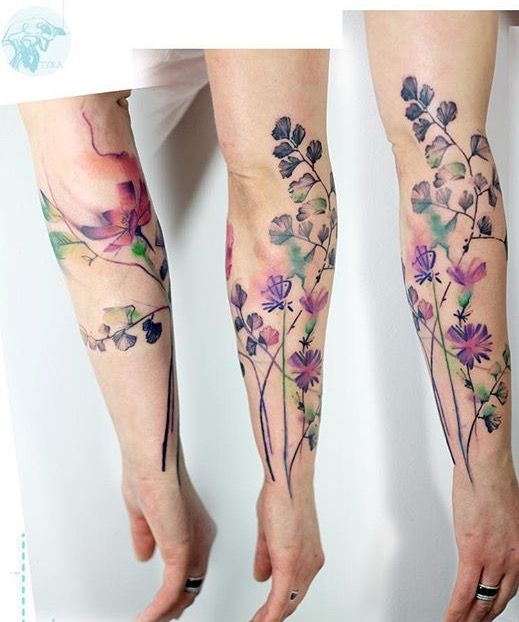 Watercolor Flower Sleeve Tattoo Amazing Tattoo Ideas