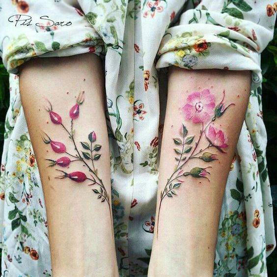 Watercolor Flowers Forearm Tattoos